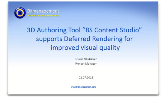 3d authoring tool bs content studio supports deferred Online rendering tool